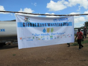 Global Handwashing Dayの標語を示す看板